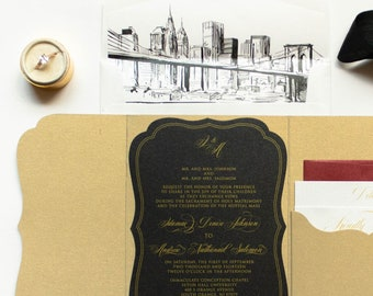 Die Cut Pocket Wedding Invitation, New York Skyline, Marble Background in Black, Gold and Red with Guest Address on Envelope - Other Colors!