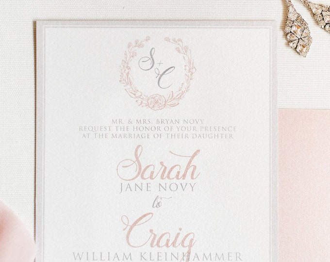 Floral Wreath Modern Monogram in Pink Blush and Grey Wedding Invitation with Details, RSVP & Guest Address Printing - Other Colors Available
