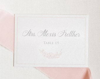 2.5x3.5 Floral Wreath in Blush Pink and Grey Wedding Place Cards Escort Cards with Printed Guest Names