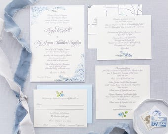 SAMPLE Formal Elegant Grey Silver Light Blue Hydrangea Wedding Invitation with Inserts & Map