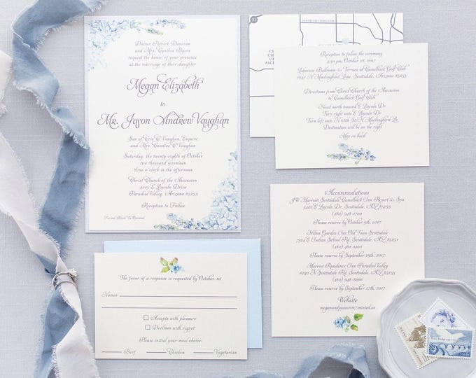 Formal Elegant Grey Silver Light Blue Hydrangea Wedding Invitation with Inserts & Map