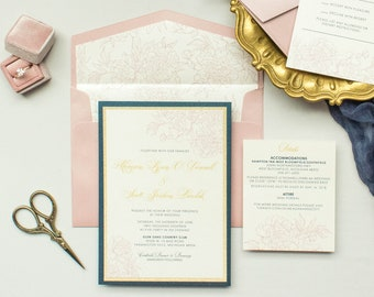 Elegant Formal Navy Blue, Gold Glitter and Pink Blush Layered Wedding Invitation, Envelope Liner, RSVP & Inserts — Different Colors Options