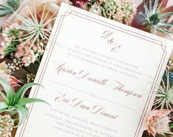 Classic Timeless Blush and Burgundy Framed Border Elegant Wedding Invitation Suite with RSVP & Envelope - Other Color Options Available