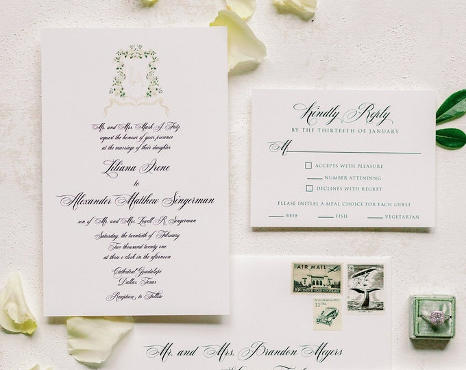 Formal and Traditional All Script Invitation with Custom White Roses & Ivory Florals Wedding Monogram Crest —Other Colors Available!