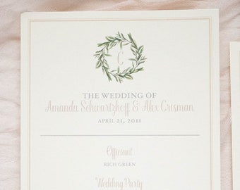 Classic Timeless Wedding Program with Greenery Leaves Wreath Monogram in Blush Pink and Ivory - Other Colors Available!