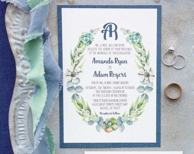 Navy and Kraft Paper Garden Greenery Wreath Laurel Leaves Branches Succulents Wreath Monogram Wedding Invitation with RSVP - Other Colors