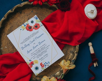 Bold and Bright Floral Wedding Invitation with Gold Geometric Lines in Red, Yellow, Blue and White, Includes Details and RSVP — Other Colors