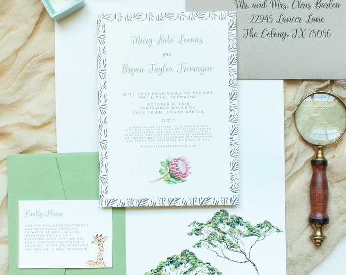 African Safari Wedding Invitation with Protea and Sahara Jungle in Green, Ivory and Brown w/RSVP, Details & Stationery - Other Colors