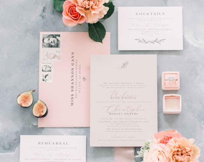 Peachy Pink & Grey Modern Wedding Invitation, Delicate Greenery Leaves Monogram, Wood Texture Belly Band and Address Printing - Other Colors
