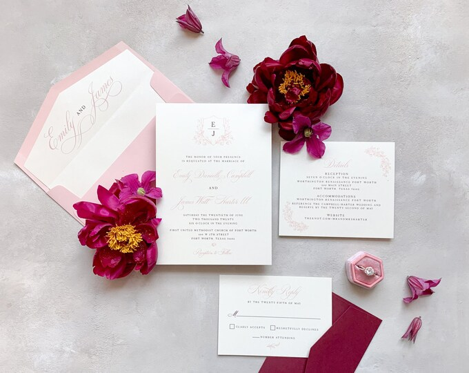 Crest Style Monogram with Floral and Birds in Blush & Burgundy Wedding Invitation with Calligraphy, Wax Seal, Envelope Liner and Addressing