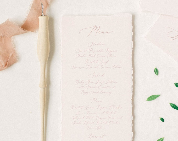 Pale Pink Wedding Menu with Ripped Edges, Delicate Calligraphy Script, Printed Menu — Other Colors Available