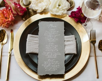 Vintage Deckled Edge Grey Menu with Ripped Edges, Delicate White Calligraphy Script, Printed Menu —Other Colors Available