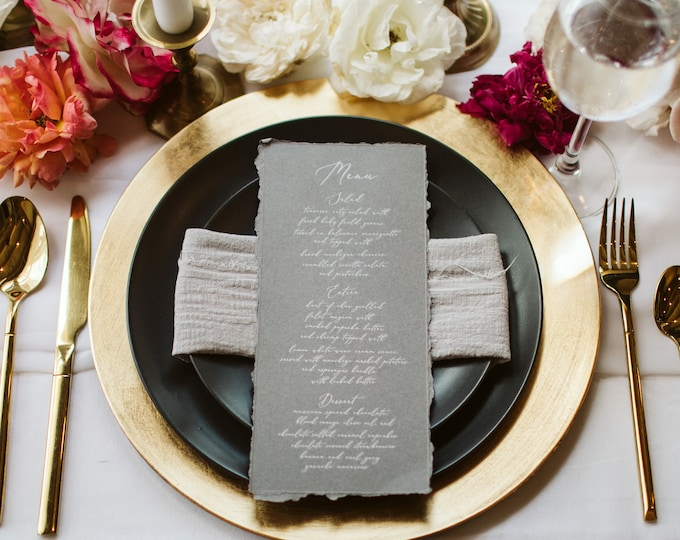 Vintage Deckled Edge Grey Menu with Ripped Edges, Delicate White Calligraphy Script, Printed Menu — Other Colors Available