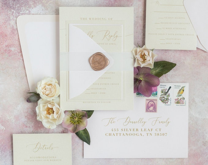 Simple Calligraphy Wedding Invitation in Ivory, Gold and Pale Pink with Vellum Belly Band, Wax Seal and Guest Addressing —Other Colors!