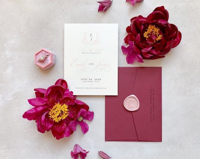 Monogram Crest with Floral & Birds Wedding Save the Date in Blush and Burgundy with Envelope and Guest Addressing —Different Colors!
