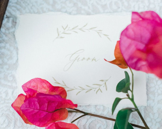 CUSTOM ORDER Greenery Leaves Calligraphy  Gold & Ivory Wedding Place Cards Escort Cards with Deckled Torn Edges Printed Guest Names