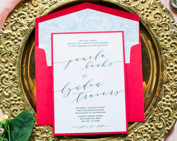 Layered Red & Blue Romantic Floral Flowers Calligraphy Wedding Invitation with Envelope and RSVP - Other Color Options Available!