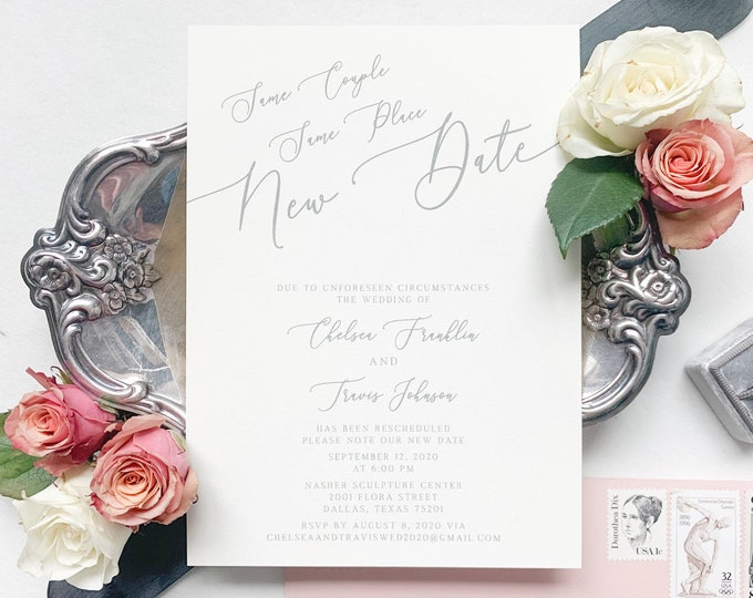 New Wedding Date Change Announcement in Grey and Blush — Modern, Calligraphy Design with Envelopes & Addressing - Other Colors Available