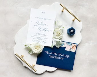 Wedding Change the Date with Simple Design, Modern Monogram Announcement with Calligraphy in Navy Blue Envelope & Addressing - Other Colors
