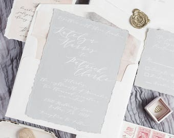 Deckled Edges Calligraphy Wedding Invitation White Ink on Gray Paper, Modern & Minimal with Wax Seal — Envelope Liner and Address Printing
