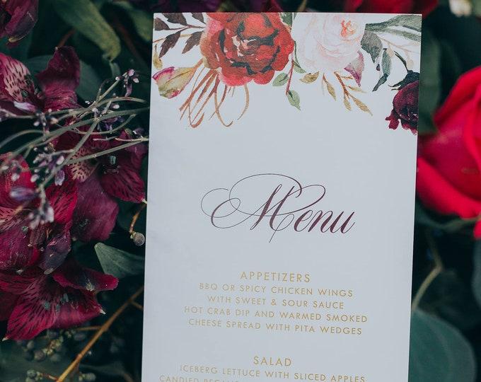 Boho Gold & Burgundy Wedding Menu in Red Sangria, Wine, Marsala and Blush Pink Water Color Floral Printed Menus
