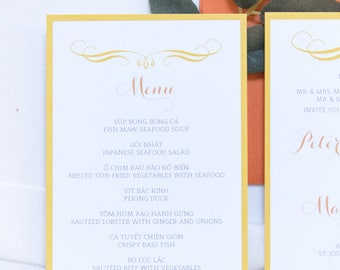 4x8 Brightly Colored Orange and Yellow Confetti Polka Dots Printed Wedding Menu