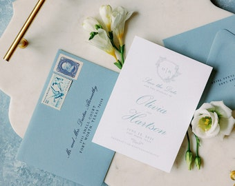 Classy Save the Date with Monogram Crest with Greenery in Dusty Blue with Envelope and Addressing —Other Colors!