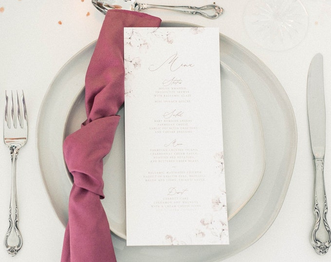 4x9 Delicate & Soft Wedding Menu in White, Blush, Grey and Mauve Pink and Floral and Simple Modern Calligraphy Script