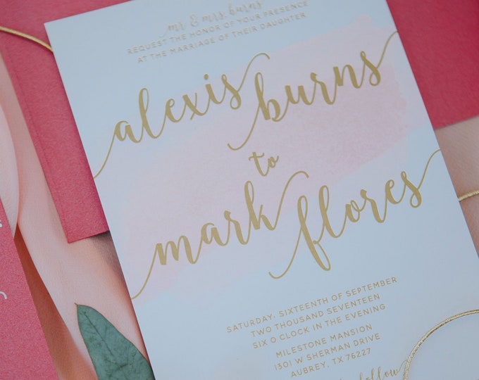 Hot Pink, Blush and Metallic Gold Ink Water Color Brush Stroke Wedding Invitation — Envelope Liner, RSVP and Envelope Address Printing