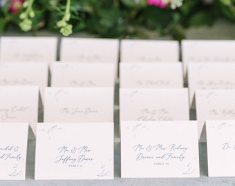 Line Drawn Floral Tent Place Cards / Escort Cards in Dusty Blue and Slate Blue with Printed Guest Name —Different Colors Available!