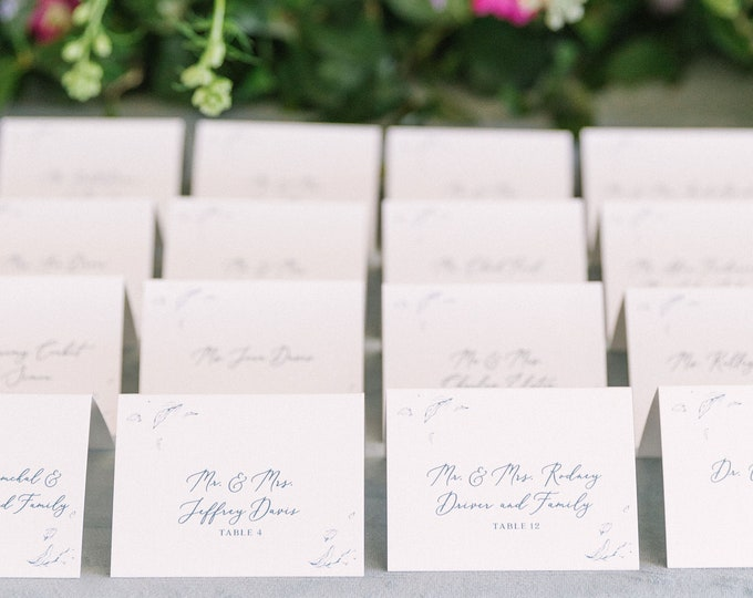 Line Drawn Floral Tent Place Cards / Escort Cards in Dusty Blue and Slate Blue with Printed Guest Name — Different Colors Available!