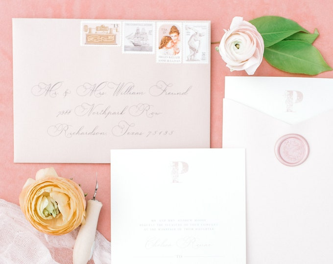 Modern Formal Wedding Invitation in Dusty Rose with Pocket, Floral Monogram and Blush Wax Seal - Other Colors Available