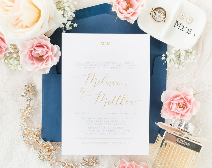 Simple Minimal Modern Geometric Monogram Navy Blue, Blush Pink & Gold Wedding Invitation with Calligraphy and Floral - Different Colors!