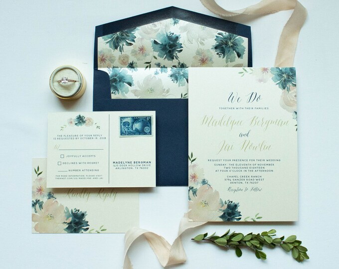 Blush Pink, Navy Blue Floral Calligraphy Wedding Invitation with Postcard RSVP and Envelope Liner - Other Colors Available