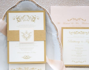 Traditional Formal Vintage Elegant Gold Glitter and Pink Blush Wedding Invitation with Belly Band, Address Printing & Inserts