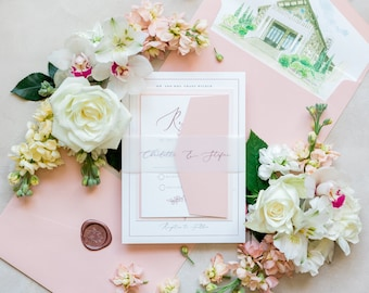 Blush Pink Wedding Invitation Featuring Custom Venue Illustration, Vellum Belly Band and Calligraphy Script - Other Colors Available