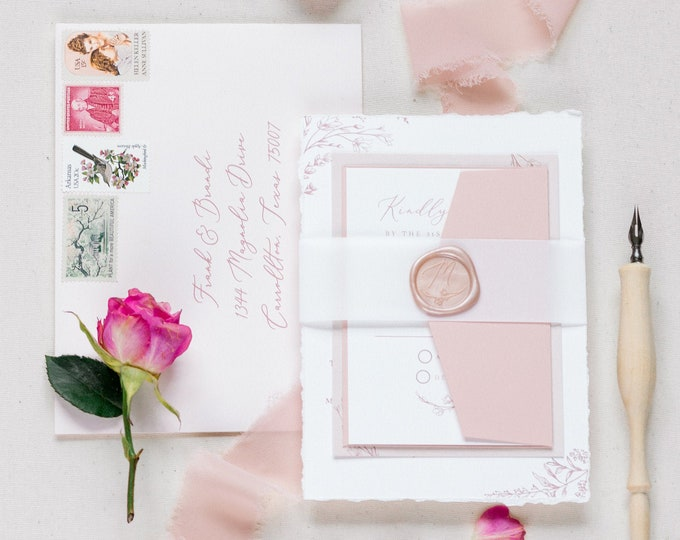 Blush & White Invitation with Wedding Venue Sketch in Envelope Liner, Vellum Belly Band and Wax Seal with Guest Addressing — Other Colors!