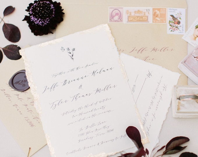 Gold Foil Detailing on All Calligraphy Style Wedding Invitation with Ripped Edges & Plum Wax Seal with Butterfly + Thistle - Other Colors!