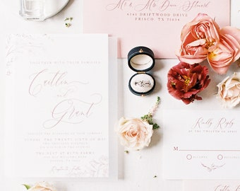 Romantic Floral Vellum Wedding Invitation in Mauve and Blush with Peachy Pink Envelope and Guest Addressing — Different Colors Available