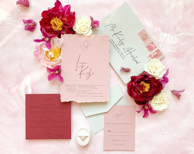 Modern Calligraphy Monogram Wedding Invitation Minimal Simple Design on Peachy Pink and Burgundy with RSVP & Envelope - Other Color Options