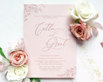 Change the Date Delicate Line Drawn Floral Wedding Invitation with Modern Calligraphy on Peachy Pink Envelope with Addressing - Other Colors