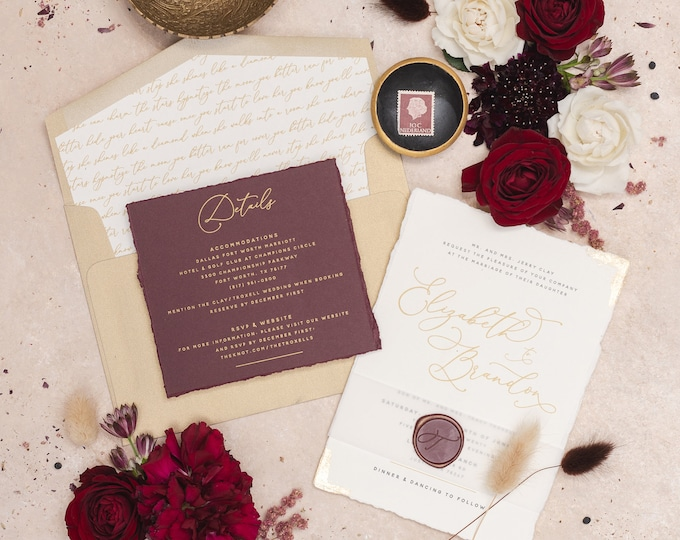 Gold Foil Flakes on Modern + Simple Wedding Invitation with Torn Edges, Vellum Belly Band & Wax Seal in Burgundy - Other Color Options!