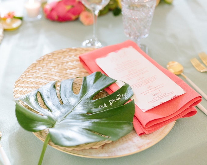 Brightly Colored Coral and Pink Tropical Brush Stroke Menu for Summer Wedding —Different Colors Available!