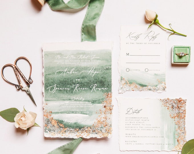 Gilded Silver Foil Wedding Invitation with Torn Edges, Water Color and Calligraphy in Green and Slate Blue, Envelope Liner & Guest Printing