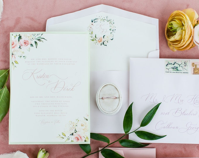 Soft Blush Floral Monogram Wreath Wedding Invitation, Ivory and Light Green Calligraphy with Deckled Edges and Envelope Liner - Other Colors