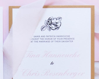 Antique Gold Floral & Blush Pink Wedding Invitation Featuring Vintage Flowers - Includes Directions Insert, Postcard RSVP and Envelope Liner