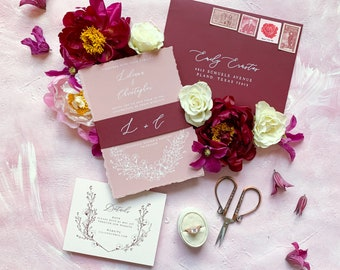 White Ink on Dusty Rose & Burgundy Wedding Invitation with Ripped Edges, Calligraphy and Delicate Hand Drawn Floral —Other Colors!