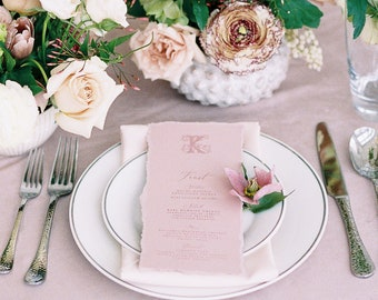 Elegant Monogrammed Blush Pink Wedding Menu with Ripped Edges, Formal Script, Printed Menu — Other Colors Available