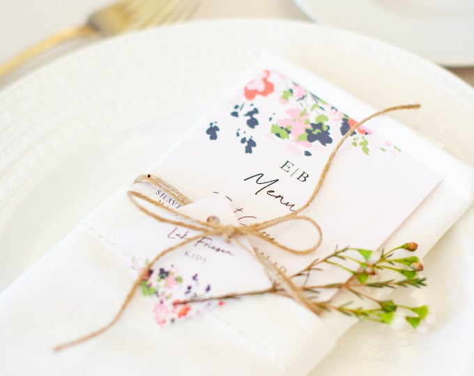Blush, Coral and Navy Blue Floral Wedding Menu with Square Escort Card Tag Tied with Twine