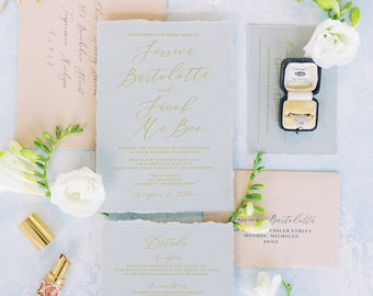 Soft & Romantic Wedding Invitation in Grey, Blush and Gold, Ripped Edges, Water Color Envelope Liner and Addressing —Other Colors Available